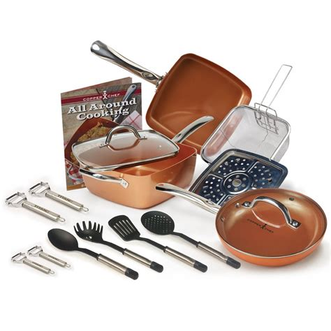kitchen cookware copper chef  pc deep   square  stick frying pan set ebay