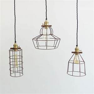 Industrial wire cage pendant light by the den now