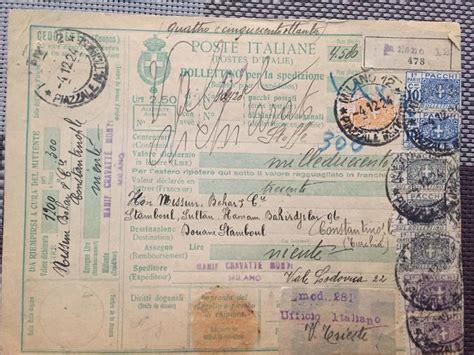regno ottomano italia regno 1924 bollettino per pacchi diretto a