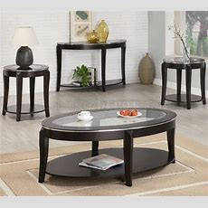 Cappuccino Finish Modern 3pc Coffee Table Set Woptions