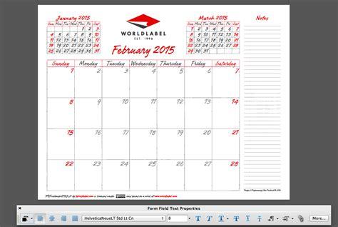 editable fillable  calendar template