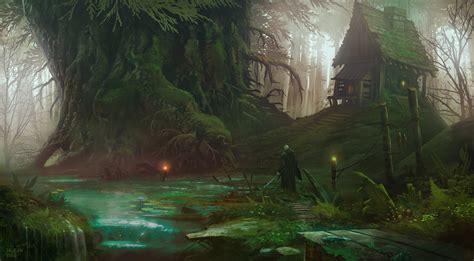 artwork fantasy art trees forest house river sword