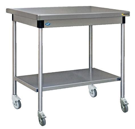 table cuisine inox table inox centrale avec étagère basse à roulettes