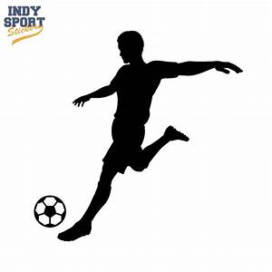 Soccer Player Silhouette Kicking Ball Decal or Sticker for ...