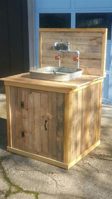 turn  wooden cable spool   outdoor kitchen
