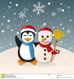 Christmas Snowman And Penguin Stock Vector - Image: 61822067