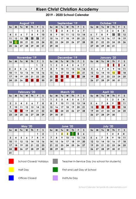 school calendar risen christ christian academy