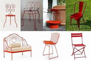 Paint metal patio furniture images for Red metal patio furniture