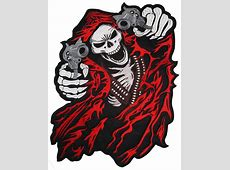 Reaper With Guns Red Back Patch 39cm X 255cm 1514