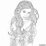 Coloring Detailed Teenage Pretty Woman Aesthetic sketch template