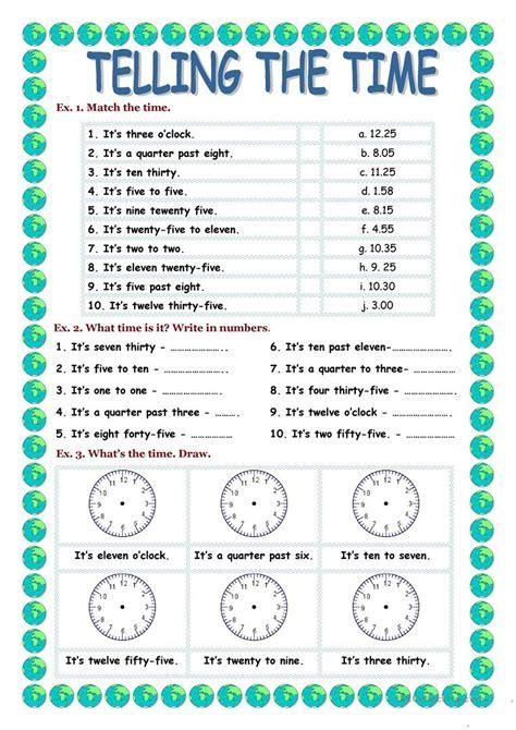 Telling The Time Worksheet  Free Esl Printable Worksheets