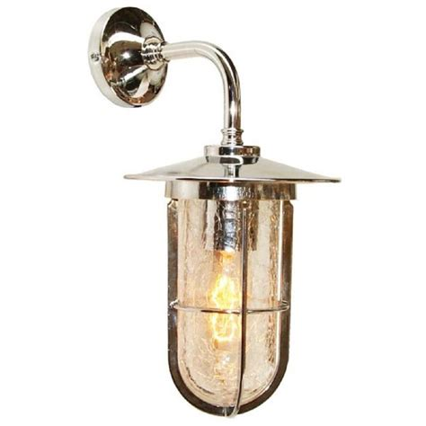 replica factory style single wall light with crackle glass