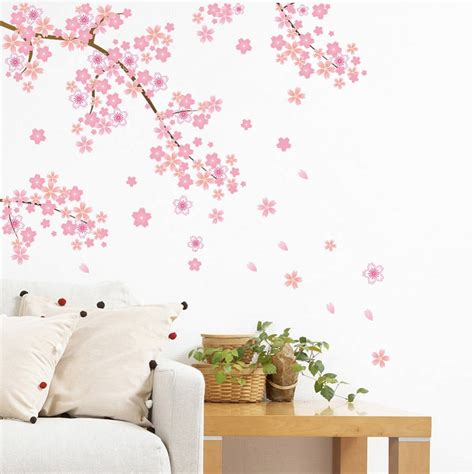 stickers mur chambre aliexpress com buy pink flying vine flower