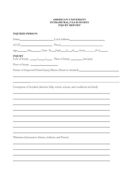 sample injury report form