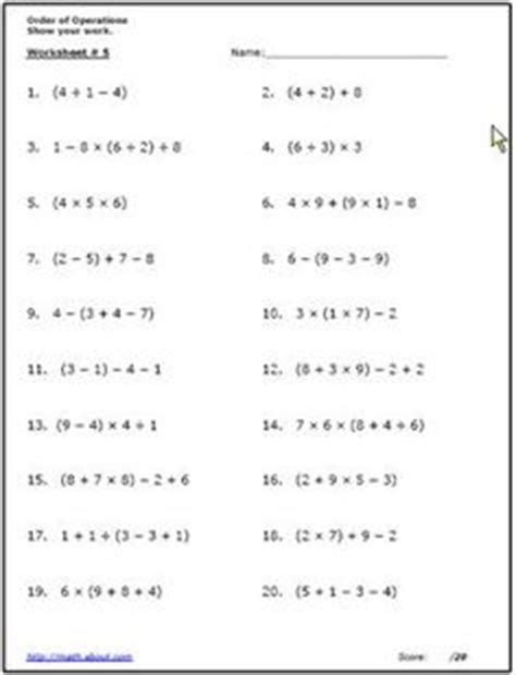 order of operations worksheet order of operations worksheets printable middle school math