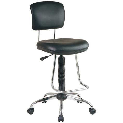 chrome and vinyl ergonomical drafting chair at hayneedle