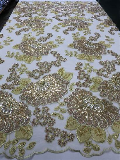 Fabric Lace Beaded Gold Sequins Embroidered Crystals