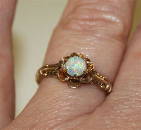 vintage opal and gold ring antique opal ring vintage