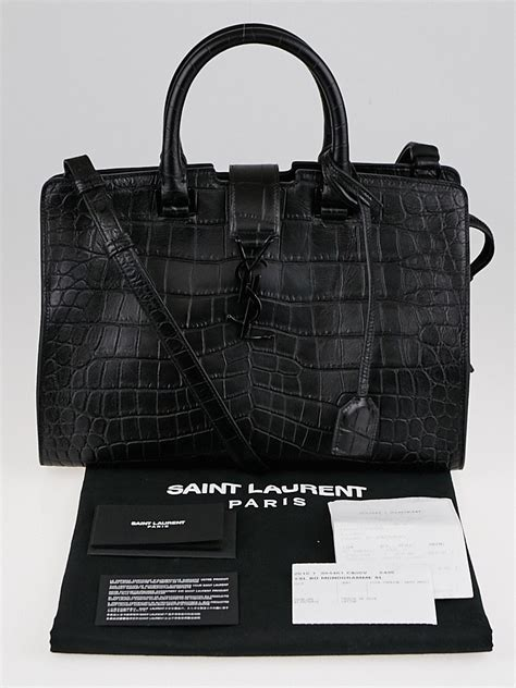 yves saint laurent black croc embossed leather small