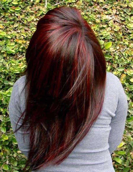 dark red hair color ideas  highlights lowlights