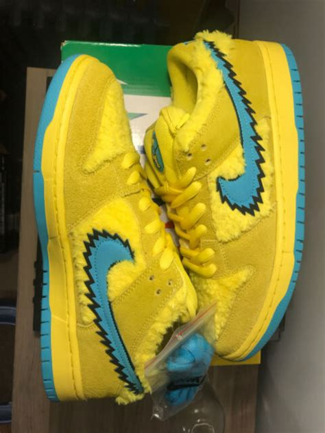 grateful dead nike sb dunk pro qs yellow bear size