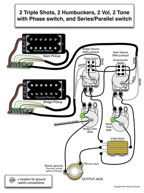 seymour duncan wiring diagram  triple shots  humbuckers  vol  tone   phase