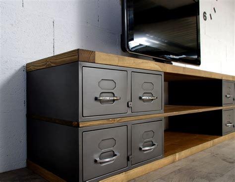 heure ouverture bureau en gros industriel meuble tv métal et bois tiroirs