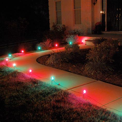 outdoor christmas driveway lights lumabase red and green pathway lights 10 count 61110