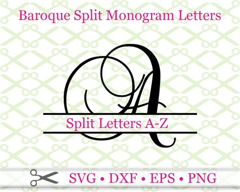 baroque split letter monogramcricut silhouette files svg dxf eps png monogramsvgcom  svg