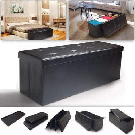 banc coffre rangement pliable noir gm 100x38x38 cm achat