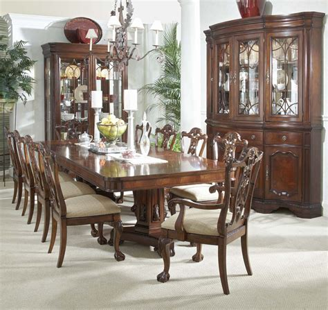 china cabinet dining table 12 piece mahogany dining set table chairs china cabinet ebay
