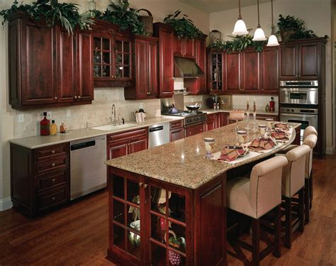 oak kitchen island with granite top pictures of kitchens with cherry cabinets yellow kitchen