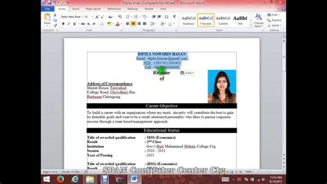 How To Spell Resume In Word by How To Write A Cv Resume With Microsoft Word Hd