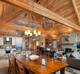 Rustic Living Room and Kitchen Open Floor Plan