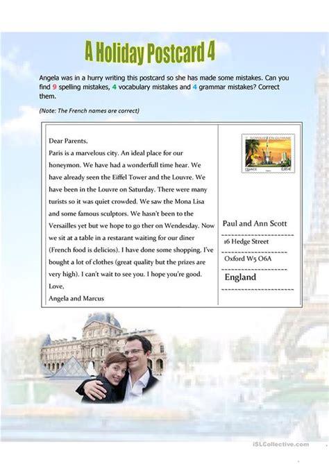 Holiday postcard 4 - English ESL Worksheets for distance ...