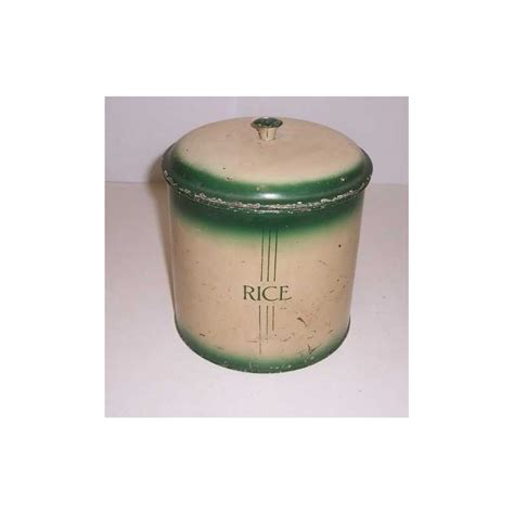 tin kitchen canisters kitchen rice canister in cream green in tin treats and treasures