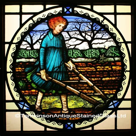ref ed edwardian stained glass window ploughing