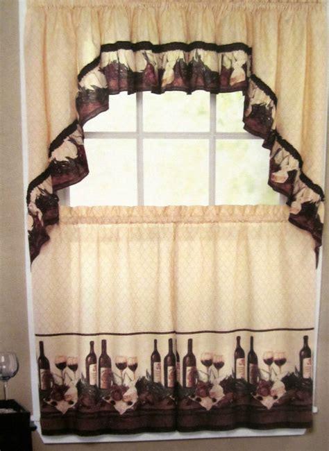 tuscan kitchen curtains vino wine bottles tuscan kitchen curtain tier set valance or swags chef ebay