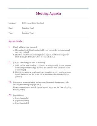 basic meeting agenda samples small business