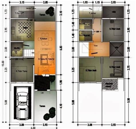 model denah rumah  lantai ukuran  meter terbaru