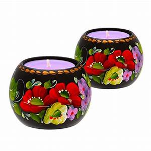 Tealight Candle Holder Set Of 2 Hand Painted Floral