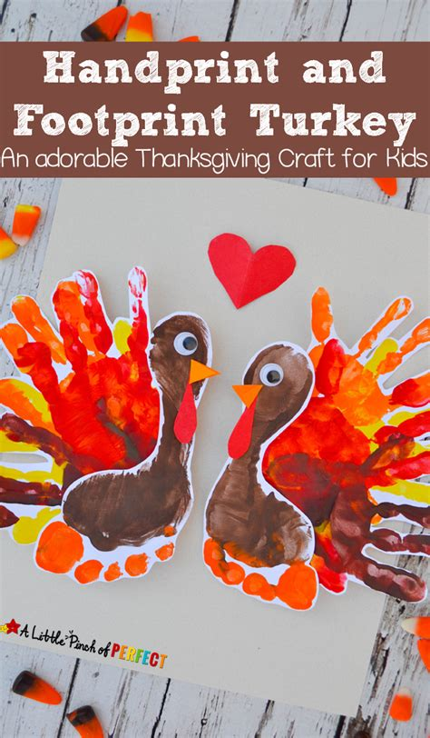 handprint and footprint turkey an adorable thanksgiving 878 | 610b53f9db97366f4f51a14d81df5e76