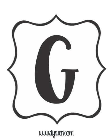 letter g black and white free printable black and white banner letters diy swank