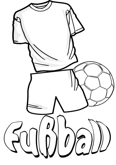 malbild fussball trikot und fussball ausmalen
