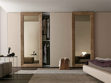 Wardrobe Closet With Mirror Doors by Wardrobe With Liscia Sliding Doors In Corda Color Wood And