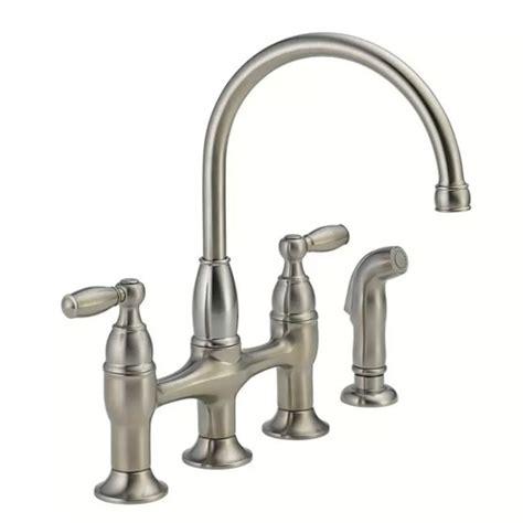 delta stainless steel kitchen faucet delta 21966lf ss dennison bridge kitchen faucet w spray stainless steel ebay