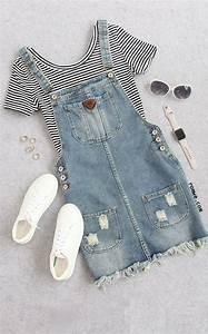 Cute Summer - Thin Striped Crop T-shirt with denim overall dress - romwe.com   Romwe Hot Buy ...