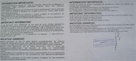 Cuba Visto D Ingresso Documenti Visti