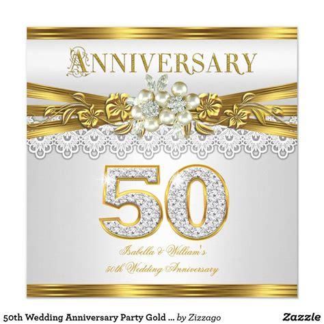 wedding anniversary party gold white pearl invitation