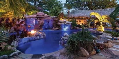 Pools Pool Waterfall Rock Natural Custom Lucas